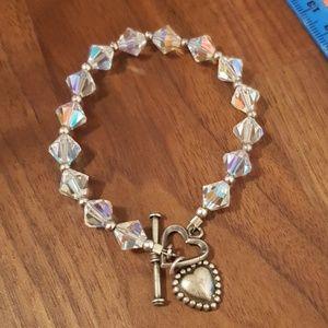 Vintage sparkly crystal heart bracelet